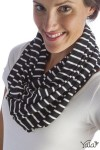 Infinity bamboo scarf black natural stripe