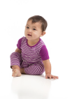 Baby SS bamboo romper orchid stripe