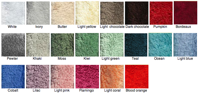 Daisy House bamboo towel color chart