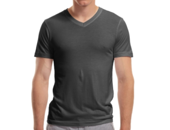 Mens Bamboo V-neck charcoal