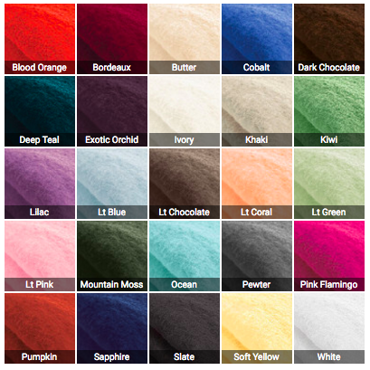Bamboo towel color palette