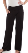 Wide Leg Bamboo Pants black