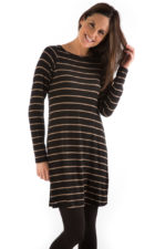 yala maria dress black toffee stripe