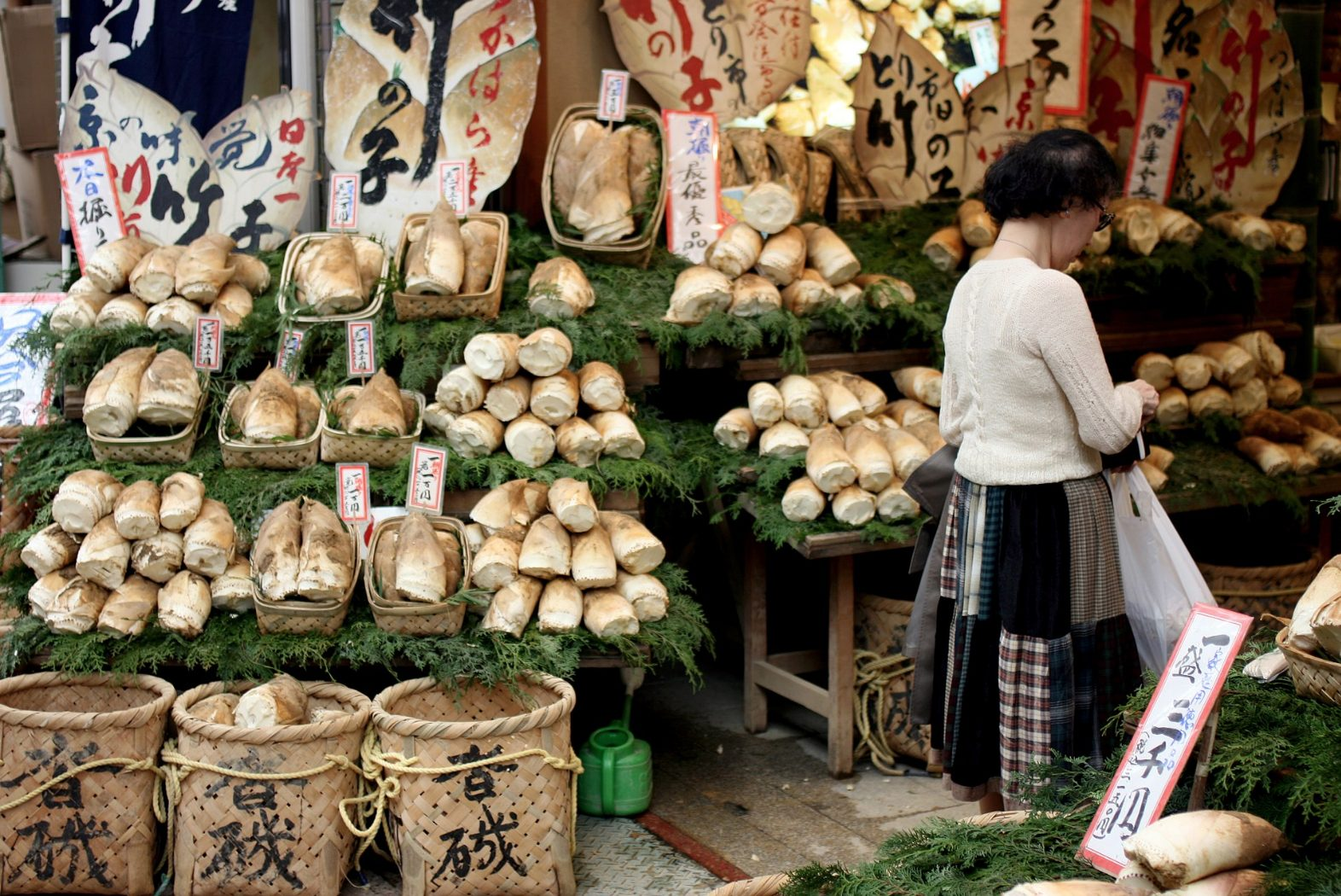 Bamboo shoots in a Japanese market
