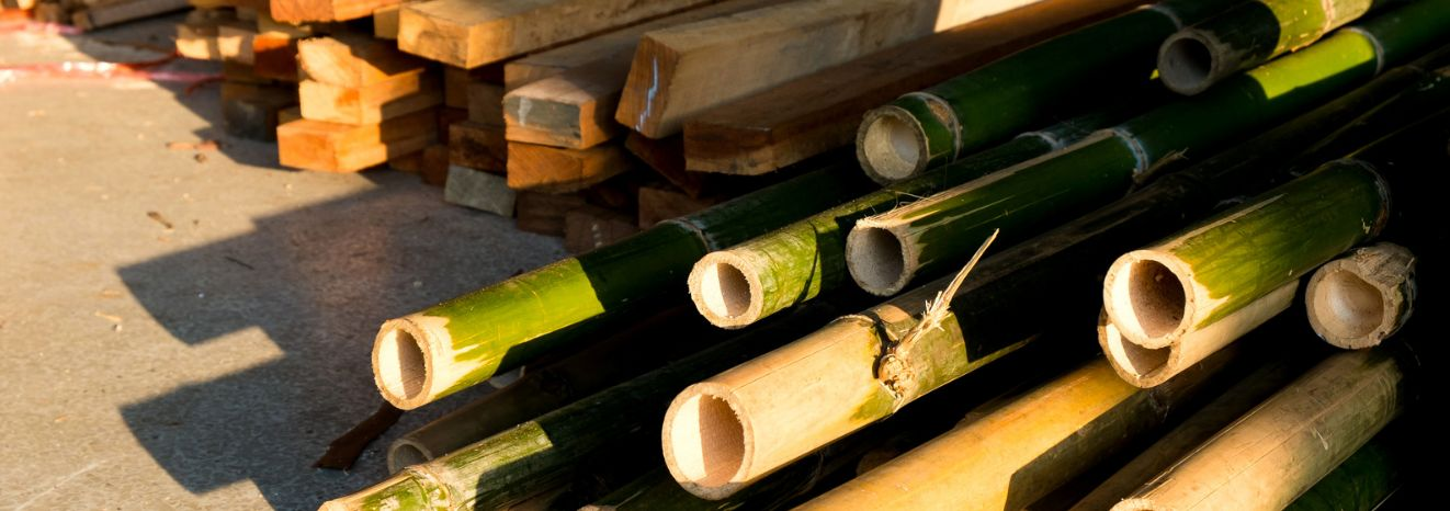 Bamboo lumber and construction