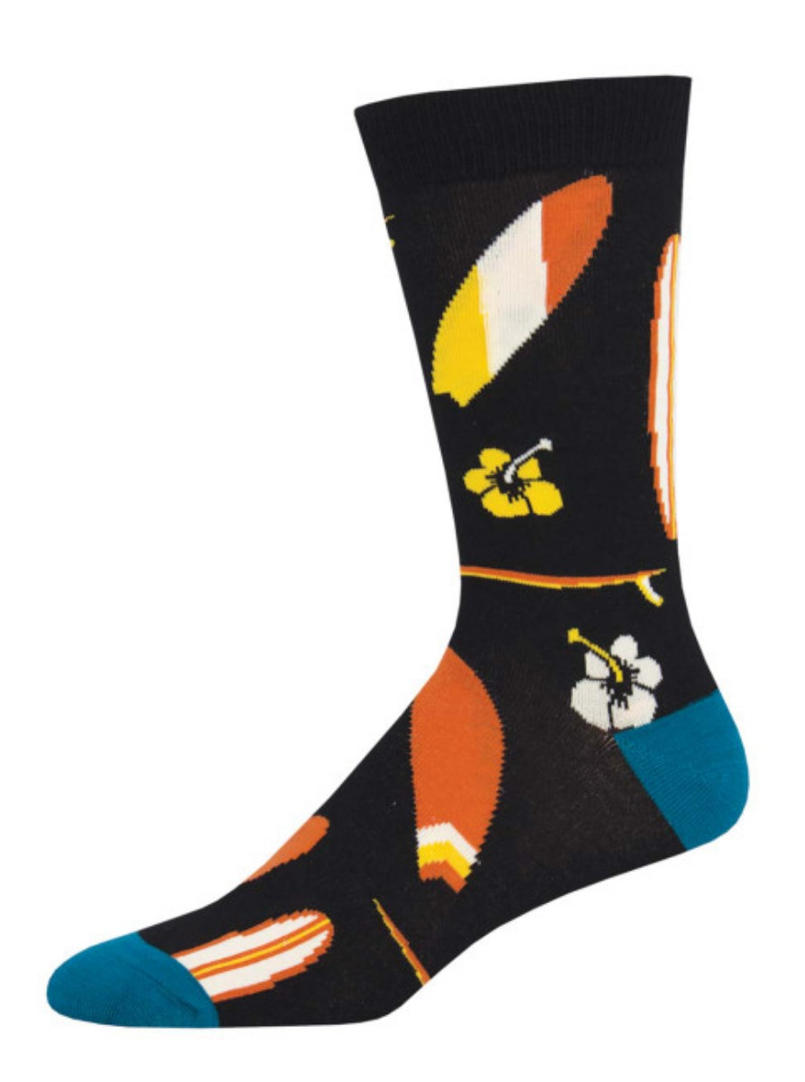 Mens bamboo socks black surf