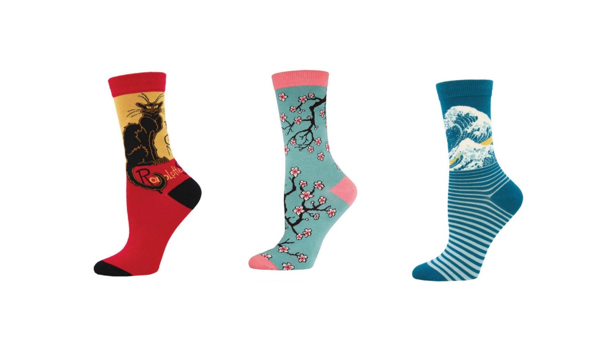 Cool bamboo socks with prints for women