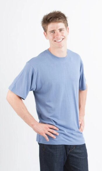 Mens bamboo shortsleeve steel blue