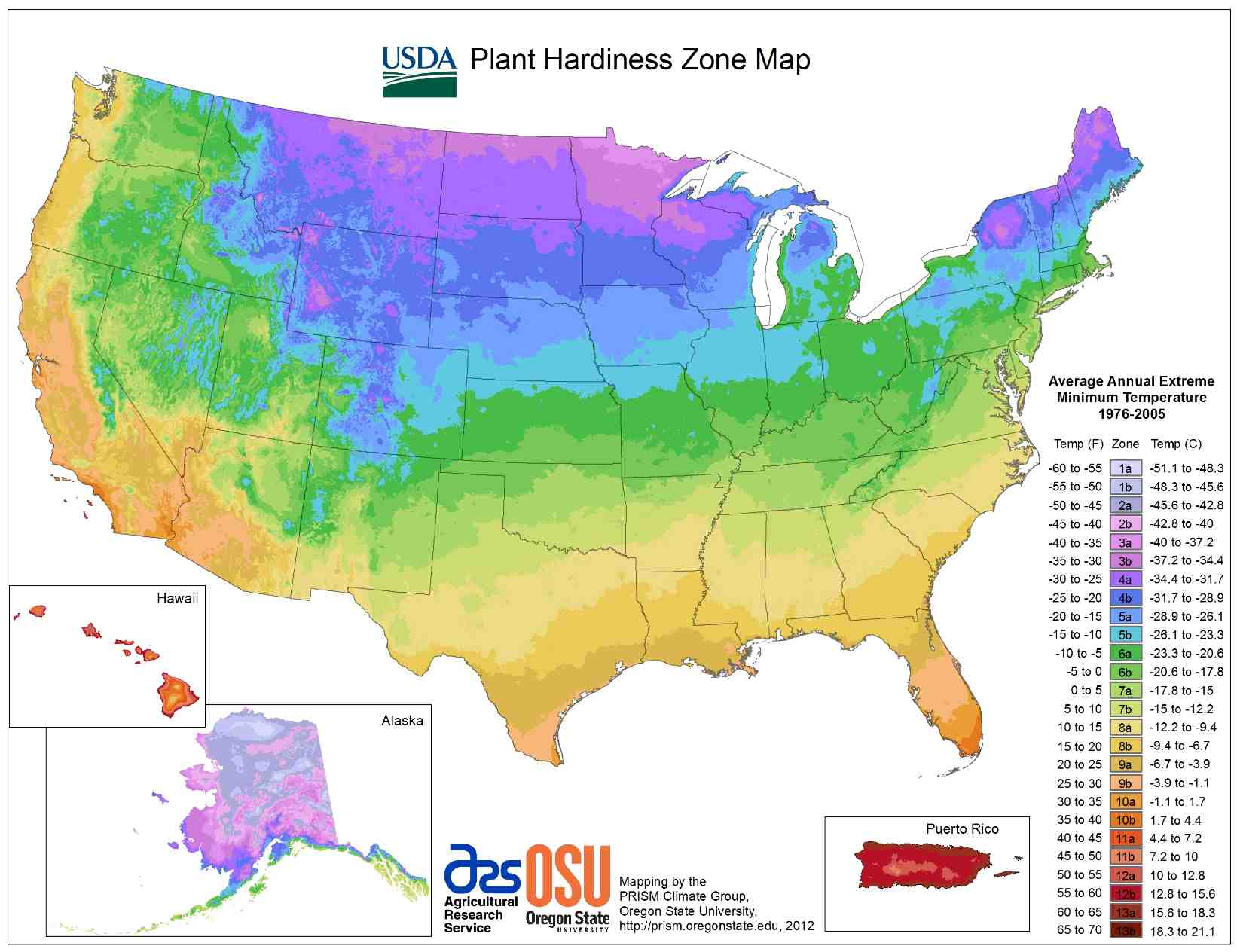 Map of USDA climate zones